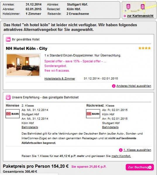 Silvester in Köln: 3 Tage Köln im Top 4* Hotel (nur Übernachtung) schon ab 308,41€ inkl. Hin- und Rückfahrt mit der Bahn (ICE, IC, EC) für 2 Personen