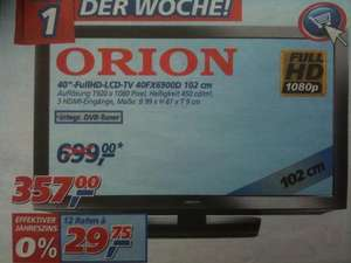 """ORION 40"""" Zoll FullHD-LCD-TV 40FX6900D für 357 € bei REAL,-"""