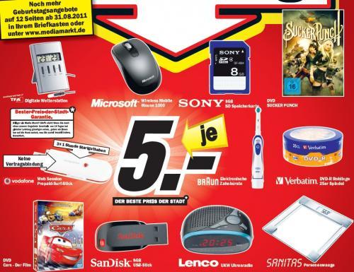 Media Markt Meerane: Je 5€: 8GB SDHC Karte (Class 4), 8GB SanDisk Stick, VF WebSession 3G-Stick, 25er Spindel DVD-R