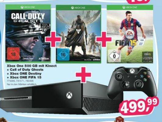 (Offline/Bundesweit)Xbox One 500GB mit Kinect,COD Ghosts,Destiny und Fifa 15 (1Controller) für 499,99@Toy´s r Us