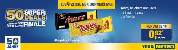 5+1er Pack Mars, Snickers oder Twix für 0,99 € @Metro Nur am 02.10.!