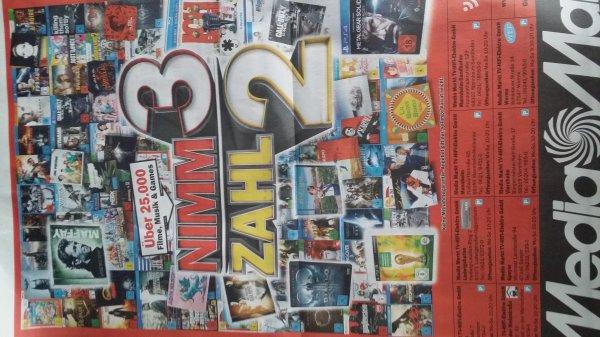 Media Markt - Nimm 3 Zahl 2 - Filme, Musik und Videospiele vom 01.10. - 04.10.