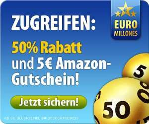50% Rabatt auf Lotto-Schein für Neukunden und zusätzlich 5€ Amazon Gutschein wer Euromillions 100€ spielt @Tipp24