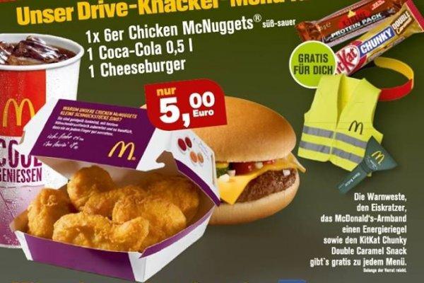 [LOKAL Aurich] 1x 6er Chicken McNuggets + 1 Cola 0,5l + 1 Cheesburger + Warnweste + Armband + Eiskratzer + KitKat Chunky  + Energieriegel für 5€ @ McDonalds