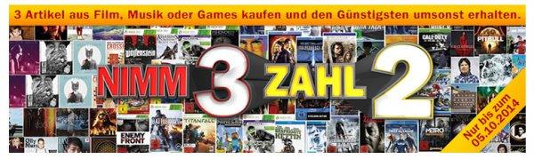 Mediamark 3 für 2 Film, Musik, Games