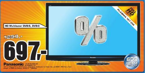 """Saturn Pforzheim: Panasonic TX-P50GW20 für nur 697€ !! (50"""" FullHD-Plasma, DVB-T/C/S, USB-Rec, DLNA, 600Hz) und andere Angebote!"""