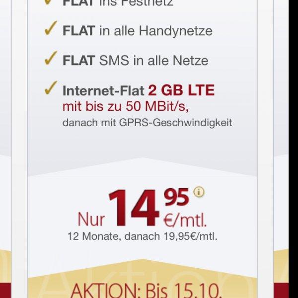 Allnet-Flat mit 2GB LTE 50 MBit/s rechnerisch 18,46€/ Monat im o2-Netz
