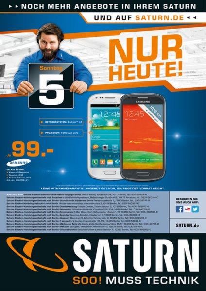 Saturn-Berlin: Samsung Galaxy S3 Mini für 99€ nur am Sonntag(5.10)