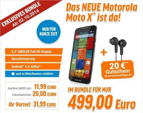 Moto X 2014 + 20€-Gutschein + Kopfhörer @notebooksbilliger.de
