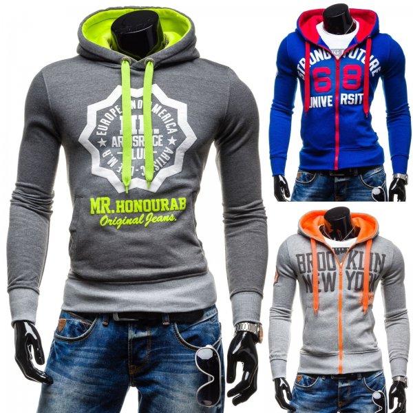 STEGOL Kapuzenpullover Zip Sweatshirt Motiv Print Kontrast Hoodie Farbwahl @ebay