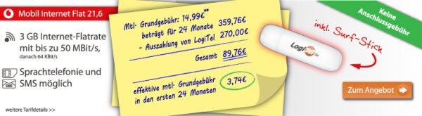 Vodafone Mobile Internet 3GB LTE Flat 21,6 + Stick und 270€ Auszahlung @Logitel