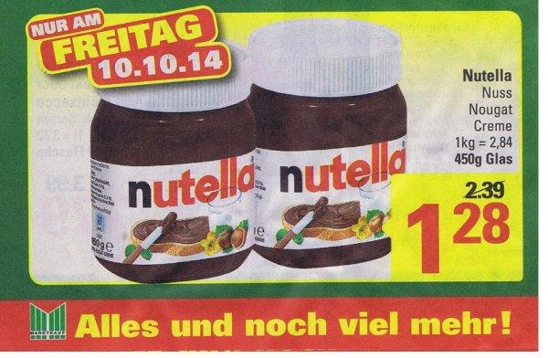 [LOKAL Marktkauf Lübbecke und Espelkamp]  Nutella  für 1,28€  [kg 2,84€]  Nur am 10.10