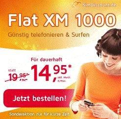SimDiscount Flat XM 1000 - Allnet+SMS-Flat, 1000 MB, o2-Netz, monatlich kündbar - günstige EU/Multicard-Option - 14,95€/Monat