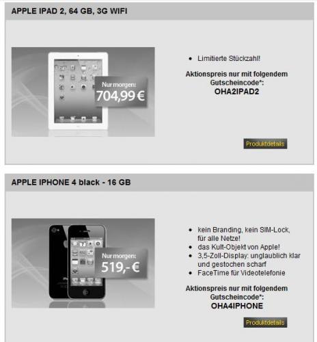 APPLE IPAD 2, 64 GB, 3G WIFI @mein Paket morgen für 704,99€