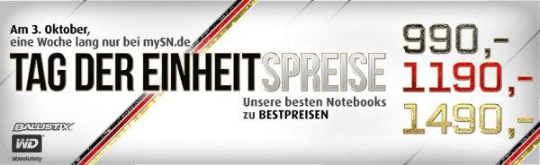 [mysn.de, XMG, Schenker] Tag der Deutschen Einheit Rabatt 90-110€ (ca. 5-8%)