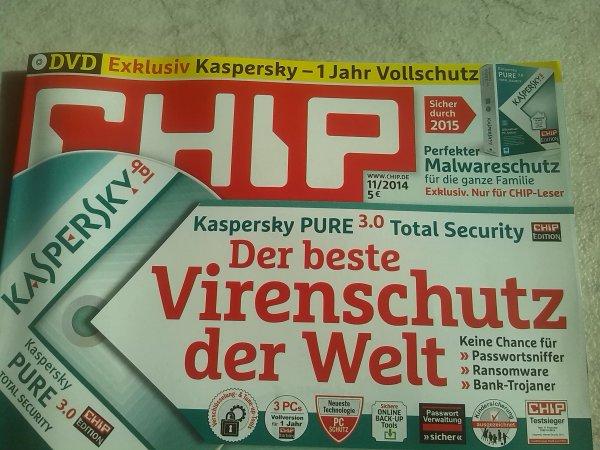 Kaspersky Pure 3.0 Total Security in der Chip Edition für 5 Euro mit DVD 1 Jahr 3 PC