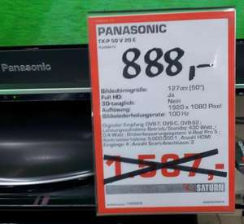 Saturn lokal (?), Panasonic TX-P50V20 für 888 Euro - Berlin