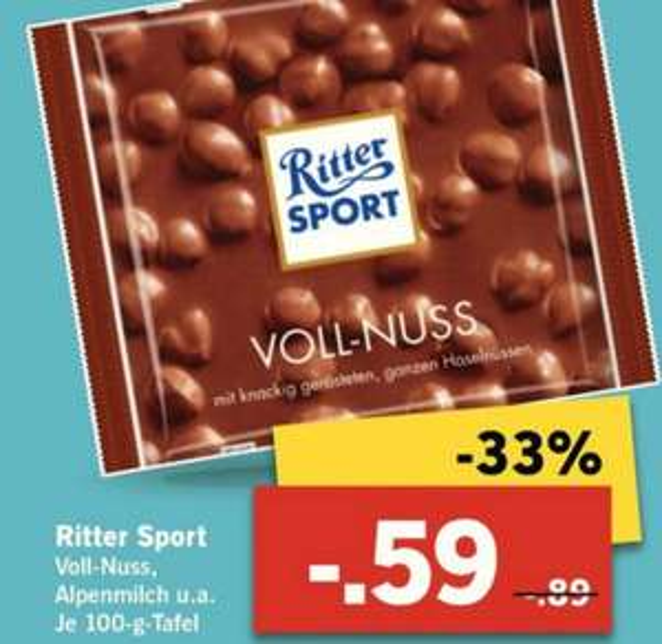 Ritter Sport 100g für 0,59 € bei Lidl ab 6.10. - 11.10.