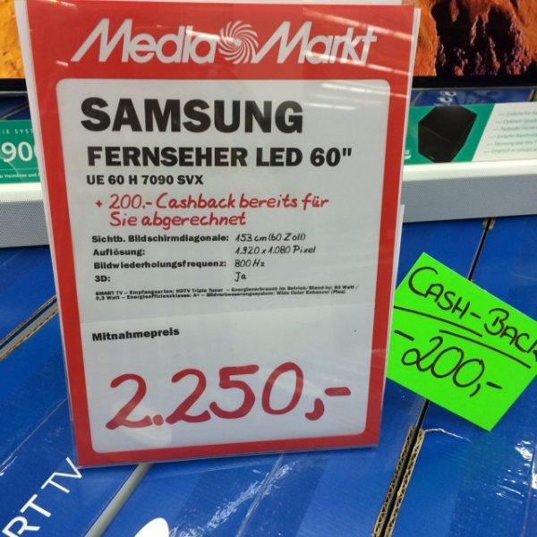 [MM Mülheim] Samsung TV Angebote ,wie z.b der UE60H7090, 800hz,Twin Tuner, MicroDimming,WLAN,smarttv,3D,sprachsteuerung u.v.m für 2250€ (idealo 2808)€