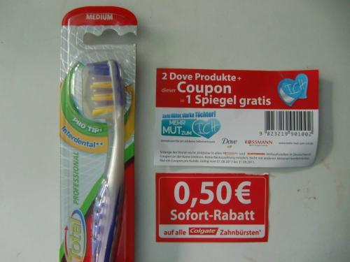 [Vor Ort] Rossmann: Colgate Total Professional Bürste 0,49€ & 2 Dove Produkte = 1 Spiegel gratis