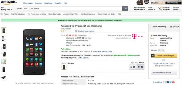 Fire Phone ohne Vertrag bei Amazon für 10€ mit Prime