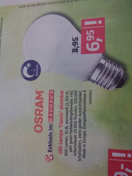 (lokal?) Bauhaus mainz mombach osram led lampe e27 classic dimmbar