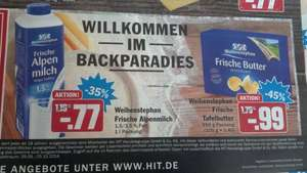 [HIT: Lokal, Umkreis Mönchengladbach?]: Weihenstephan Frische Alpenmilch 1l 0,77 € und Weihenstephan Frische Tafelbutter 250g für 0,99 €