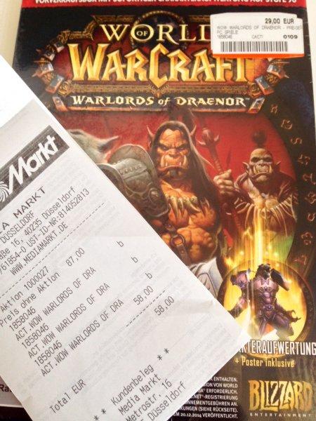 MM Düsseldorf (Metro): World of Warcraft: Warlords of Draenor VVK-Box für 29€ (eff. 19,33€ mit 3 für 2 Aktion)