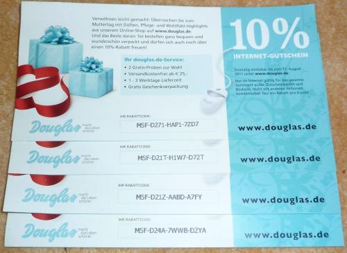 zu verschenken: 4 Stück Individual-Gutschein Douglas 10% bis 31.08.