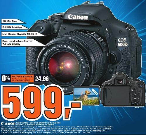 Saturn Erlangen: Canon 600d Kit mit 18-55 IS II für 599€ und andere gute Angebote!