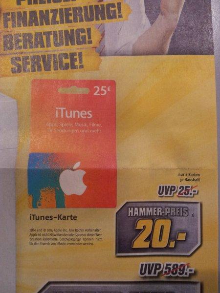 iTunes 25€ Guthaben für 20€ MediMax