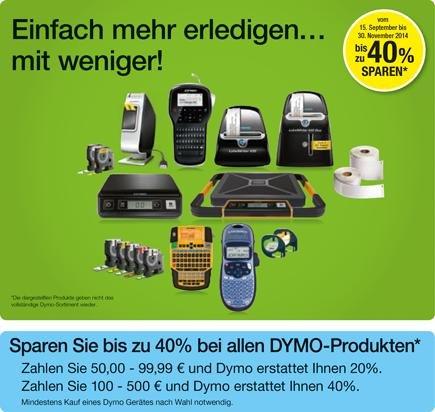 Bis zu 40€ Cashback bei Kauf von ausgewählten Dymo Produkten