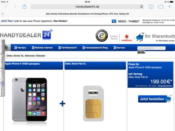 Iphone 6 16 GB mit Otelo XL für 199€ (29,90 monatlich)