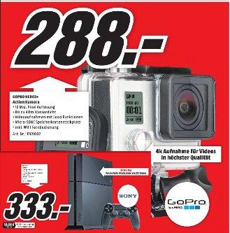 GoPro Hero3+ Black 4K inkl. WIFI Fernbedienung im Mediamarkt Lingen und Meppen für 288 Euro oder Playstation 4 500GB für 333 Euro