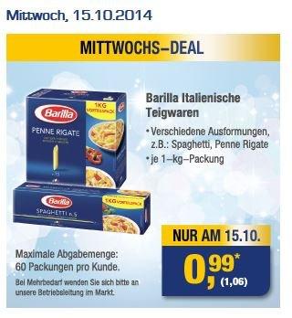 [METRO] 1kg Barilla (versch. Sorten) für 1,06 Euro (max. 60 Packungen pro Kunde)