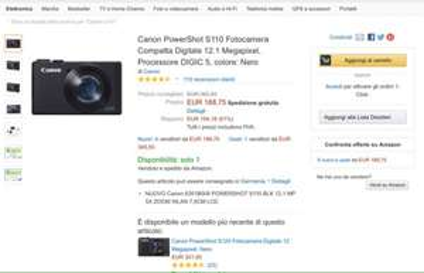 Canon PowerShot S110 für 194,60€ @Amazon.it