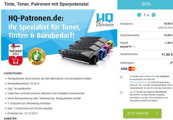 [Nur via Paypal] 50€ hq-patronen.de Gutschein für 17,96€ nur Heute @ Dailydeal