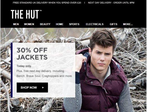30% auf Jacken + versandfrei @thehut.com