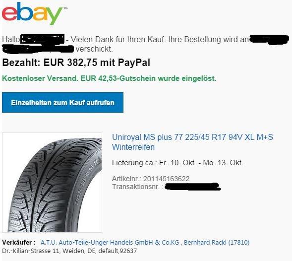 Winterreifen 4 x Uniroyal MS Plus 77 225/45R17 94V XL via ATU 20% + eBay 10 % Gutschein