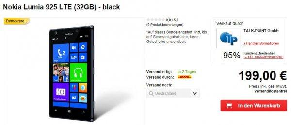 "Nokia™ - Smartphone ""Lumia 925"" (4.5"" AMOLED 1280x768,8.7MP/AF/Dual-LED Cam,32GB,LTE,NFC,WP 8) [B-Ware] für €199.- [@MeinPaket.de]"
