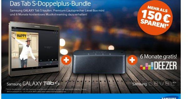 Samsung Galaxy Tab S + Samsung Level Box mini gratis im Wert von ca 99€