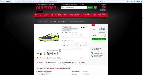 Nike Hypervenom Phelon AG Fußballschuhe bei Outfitter.de für 29,95 Euro inkl. Versand
