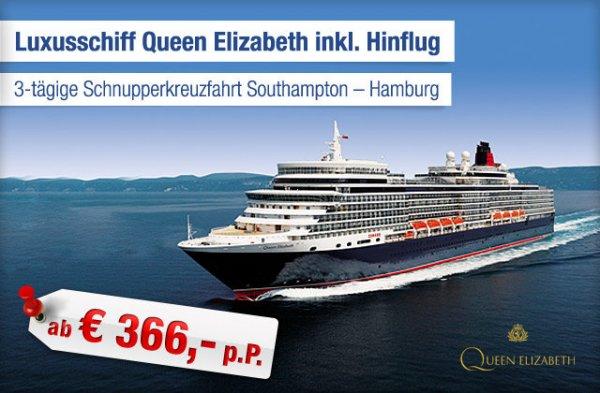 3-tägige Mini Kreuzfahrt auf der Queen Elizabeth inkl. Flug!