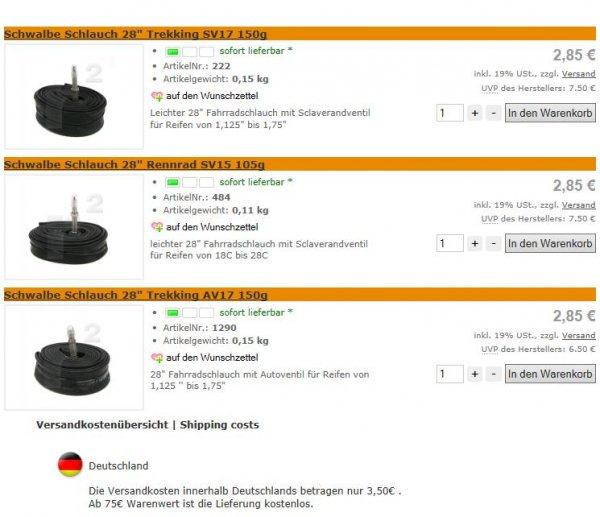 4 Schwalbe Fahrradschläuche für 14,90€ inkl. Versand oder 10 Stück für 32€