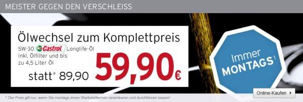 Ölwechsel zum Komplettpreis Longlife 5W30  für 54 Euro