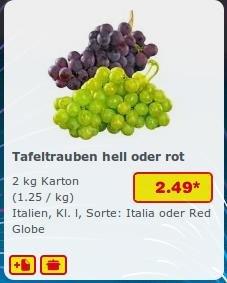 [Netto MD] 2kg Weintrauben für 2,49€ hell oder rot (1,25€/kg)