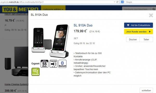 [METRO] Gigaset SL910A Duo DECT Schnurlostelefon (8.13 cm (3.2 Zoll) Touchscreen, Bluetooth, Mini-USB, Freisprechfunktion) metall/pianoschwarz  214,19€