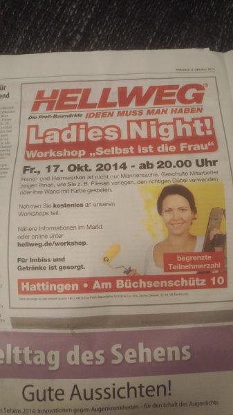 [Deutschlandweit] Hellweg Baumärkte kostenlose Handwerker Workshops LadiesNight
