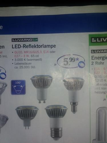 [Bei LIDL] LED-Reflektorlampen als E14, E27, GU10, etc... für nur 5,99€ mit 100° Abstrahlwinkel Warmweiss
