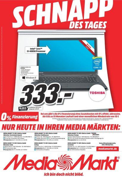 (Lokal MUC Umland)  Toshiba Satellite C50-B-143 (Notebook 15,6 Core i3-4005U 500G 4GB)